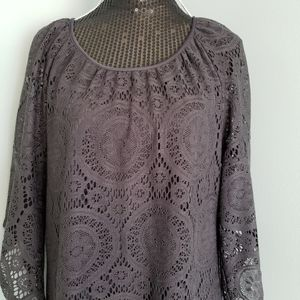 Tacera lace overlay gray dress bell sleeves